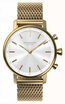 Kronaby 38 mm Karat Bluetooth Gold Mesh Armband Smartwatch A1000-0716