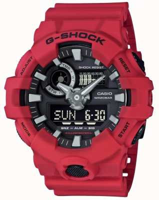 Casio Mens g-shock roter Alarm Chronograph GA-700-4AER