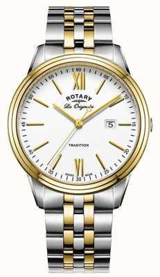 Rotary Mens Tradition schweizer machte zwei Ton Metall Armband GB90195/01