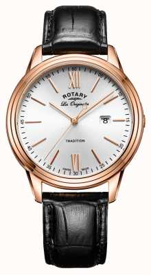 Rotary Mens Tradition schweizer Pvd Roségold Lederband GS90196/01