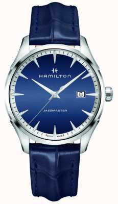 Hamilton Herren Jazzmaster Quarz blau Leder H32451641