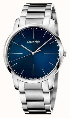 Calvin Klein Herren City Edelstahl Armband blau Zifferblatt K2G2G1ZN
