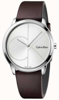Calvin Klein Mens minimal braunes Lederband Silber Zifferblatt K3M211G6
