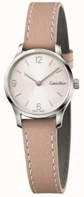 Calvin Klein Womans endloses beige Lederband weißes Zifferblatt K7V231Z6