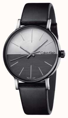 Calvin Klein Mens Boost schwarzes Leder zwei Ton Zifferblatt K7Y21CCX