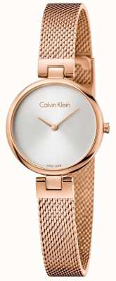 Calvin Klein Womans authentisches pvd überzogenes rosafarbenes Goldgewebearmband K8G23626