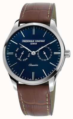 Frederique Constant Herren Klassiker Quarz braun Lederband blau Zifferblatt FC-259NT5B6