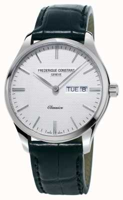 Frederique Constant Herren Klassiker Quarz schwarz Lederband weiß Zifferblatt FC-225ST5B6