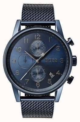 Hugo Boss Herren Navigator blau Chronographen Mesh Metall Uhr 1513538