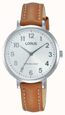 Lorus Womans weiches weißes Zifferblatt tan Lederband RG237MX7