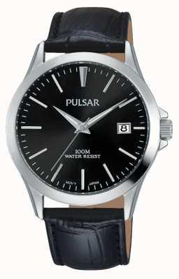 Pulsar Herren schwarzes Alligatormuster Lederband PS9457X1
