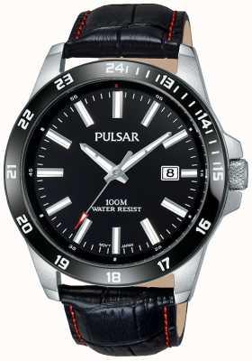 Pulsar Herren schwarzes Lederband schwarzes Zifferblatt PS9463X1