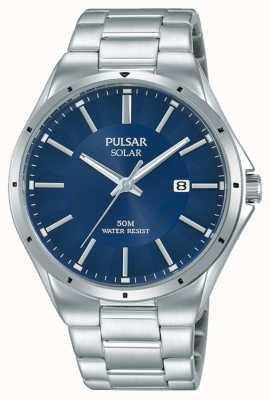 Pulsar Mens Edelstahlarmband blaues Zifferblatt PX3139X1