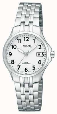 Pulsar Womans Edelstahl Armband einfaches weißes Zifferblatt PH7221X1