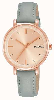 Pulsar Womans grau blau Lederband blush rosa Zifferblatt PH8366X1