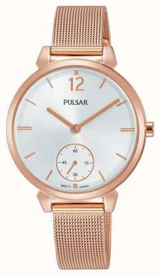 Pulsar Womans Rose vergoldet Mesh Stahl Armband Silber Zifferblatt PN4054X1