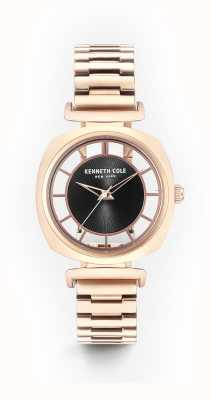 Kenneth Cole Womans schwarze Transparenz Zifferblatt Roségold Stahl Armband KC15108001