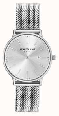 Kenneth Cole Womans Edelstahl Mesh Armband Silber Zifferblatt KC15057007