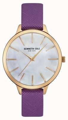 Kenneth Cole Womans lila Lederband Perlmutt Zifferblatt KC15056002