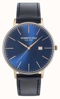 Kenneth Cole Herren dunkelblaues Zifferblatt schwarzes Lederarmband KC15059004