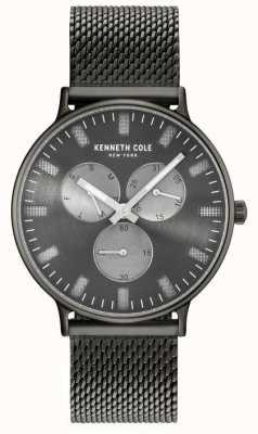 Kenneth Cole Mens Multifunktions-Pistole Zifferblatt Ionen plattiert Stahl Mesh Armband KC14946015