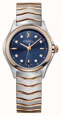 EBEL Wave Damen Diamant Set zweifarbige blaue Zifferblatt Uhr 1216379