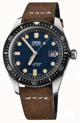 Oris Diverses fünfundsechzig automatisches braunes Lederband blaues Zifferblatt 01 733 7720 4055-07 5 21 02