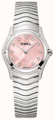 EBEL Klassisches Damen-Diamanten-Set mit 12 Diamanten, rosa Zifferblatt, Edelstahl 1216279
