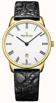 Dreyfuss Mens 1980 Lederband vergoldet Uhr DGS00136/01