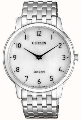 Citizen Herren Stiletto ultradünne Edelstahluhr mit weißem Zifferblatt AR1130-81A