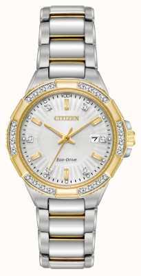 Citizen Frauen Riva Diamant zwei Ton Edelstahl Uhr EW2464-55A