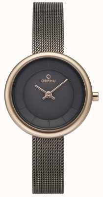 Obaku Womans Stille Granit Mesh Armband Uhr v146LXVJMJ