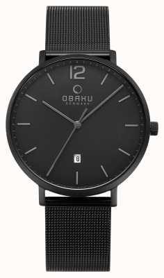 Obaku Mens-Toft-Holzkohle-Mesh-Armbanduhr V181GDBBMB