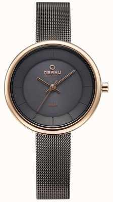 Obaku Womans lys Granit Mesh Armband Uhr V206LRVJMJ
