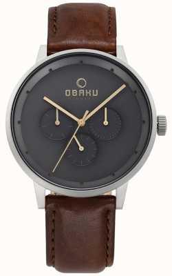 Obaku Herren Venlig braun Leder Uhr V208GMCJRN