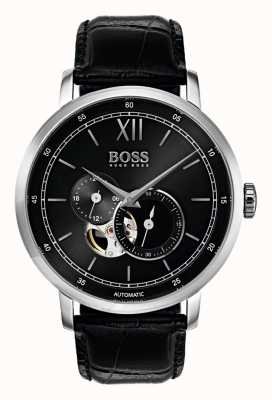 Hugo Boss Mens Signature automatische schwarze Leder Uhr 1513504