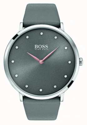 Hugo Boss Womans Jillian Uhr graues Leder 1502413