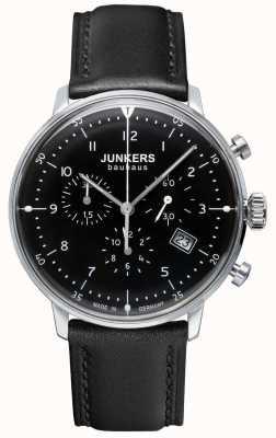 Junkers Herren Bauhaus Chronograph schwarzes Lederarmband 6086-2