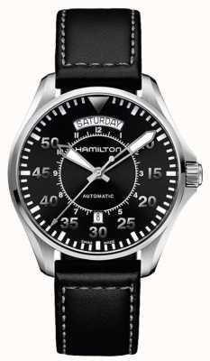Hamilton Khaki Pilot Day Date Auto schwarzes Leder H64615735