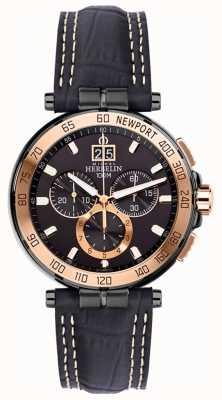 Michel Herbelin Mens Newport Yacht Club Chronograph schwarz Armband schwarz Zifferblatt 36656/TR14