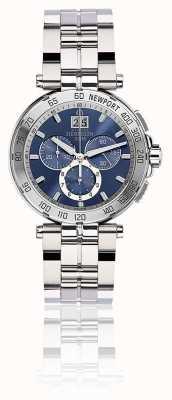 Michel Herbelin Mens Newport Chronograph Edelstahl Armband blau Zifferblatt 36696/B35