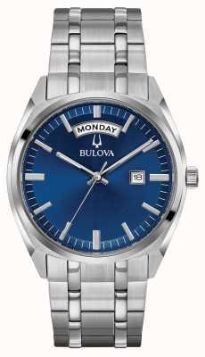 Bulova Herren klassisches Edelstahl Armband blaues Zifferblatt 96C125