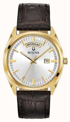 Bulova Der klassische Goldton der Männer mit Lederband 97C106