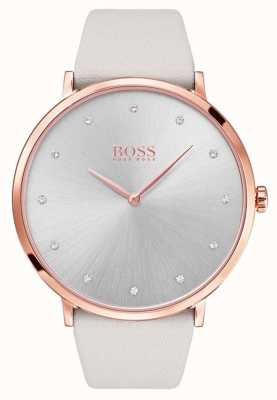 Hugo Boss Womans jillian rosafarbenes Gold tone überzogener Fall graues Leder 1502412