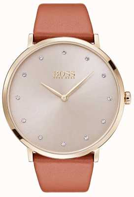 Hugo Boss Womans Jillian Gold Ton überzogener Fall tan Leder 1502411