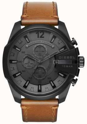 Diesel Herren Mega Chef Uhr schwarzes Zifferblatt braunes Lederarmband DZ4463