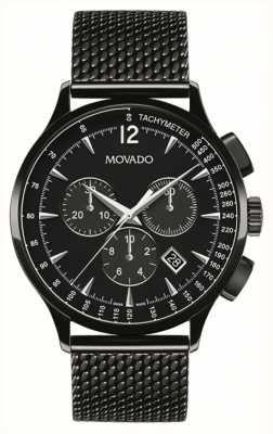 Movado Mens circa Chronograph schwarz Ionen überzogen 0606804