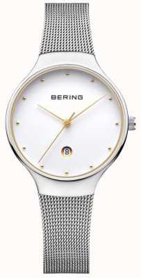 Bering Womans klassisches Datum Silber Milanese Strap 13326-001