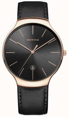 Bering Herren klassisches Datum schwarzes Lederband 13338-462
