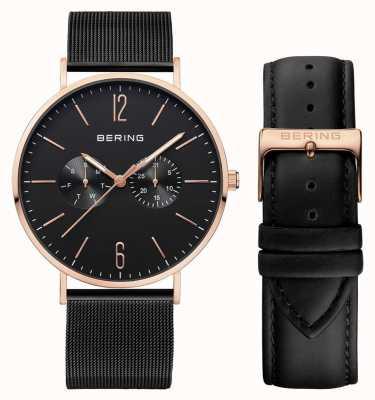 Bering Mens Multifunktions mit schwarzem Milanese und Lederband 14240-166